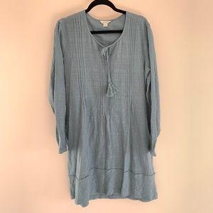 Sundance BOHO Long Sleeve Sea Green Midi Dress M